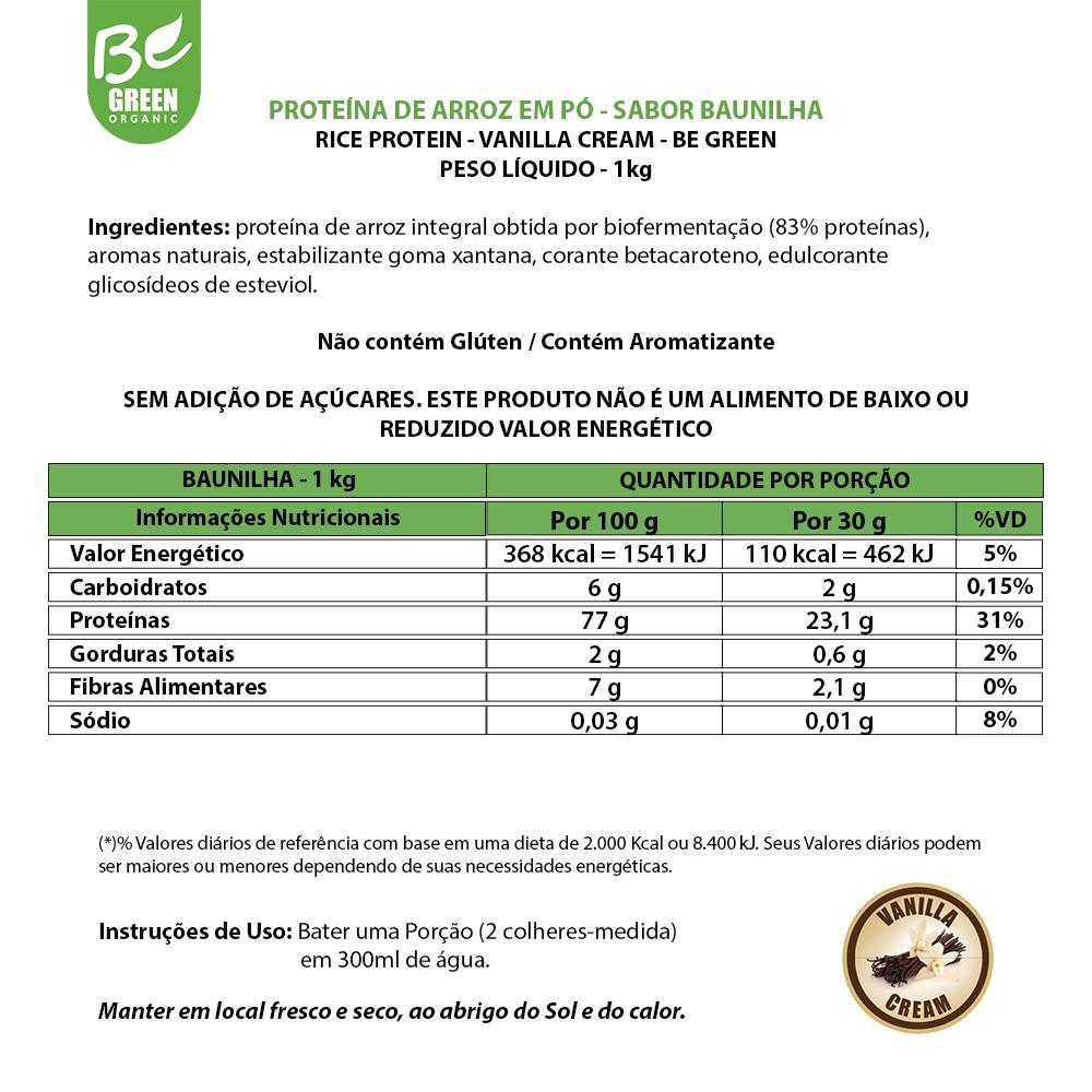Rice Protein BeGreen Proteína Vegana 1Kg – Baunilha