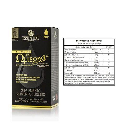 Super ômega 3 liquido TG 150ml-Essential nutrition