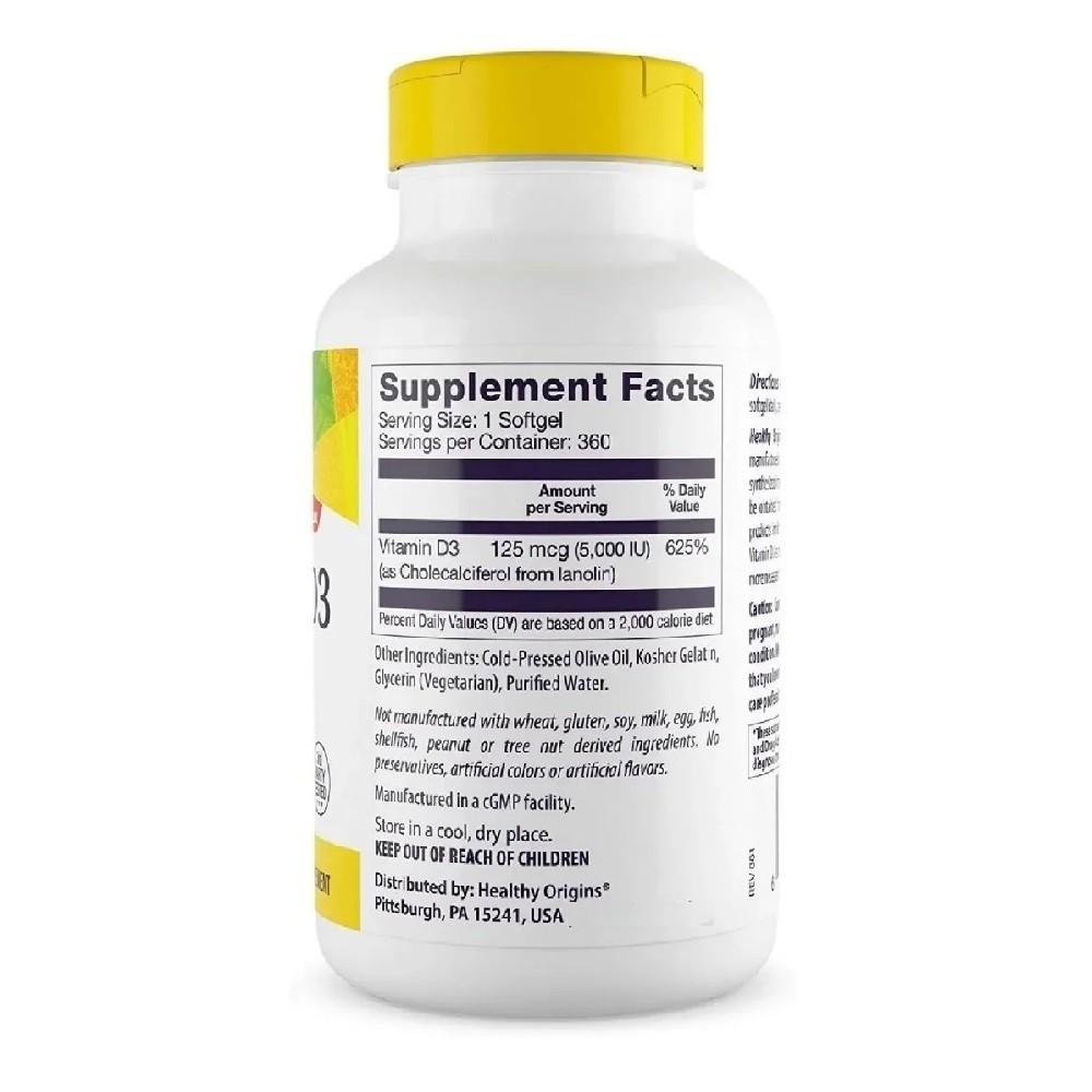 Vitamina D3 5.000 IU 360 Softgels healthy origins