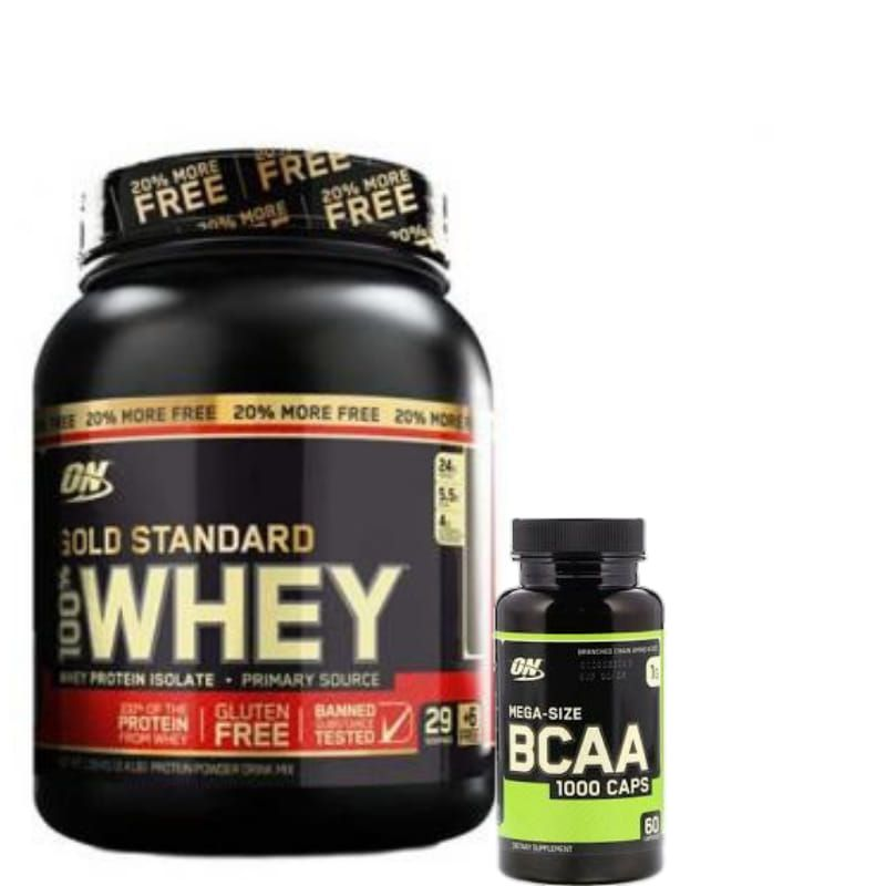 WHEY GOLD STANDARD 2.4LBS 1090G + BCAA 1000 60 Caps - Optimum Nutrition