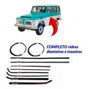 Kit Canaleta Pestana Borracha Vidro Ford Rural Jeep Willys
