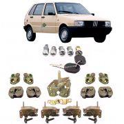Kit Cilindro Miolo Chave Fechadura Batente Porta e Porta Mala Fiat Uno 1984 A 1989 4 Portas