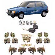 Kit Cilindro Miolo Chave Fechadura Batente Porta e Porta Mala Fiat Uno 1996 A 2003 4 Portas