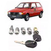 Kit Cilindro Miolo Porta Ignição Porta Mala Tampa Combustível Fiat Uno 1990 a 2003 Prêmio