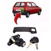Kit Maçaneta Fecho Botão Miolo Chave Porta Mala Fiat Uno 1996 A 2003