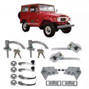 Kit Restauração Maçaneta Cromada Fechadura Porta Máquina Vidro Toyota Bandeirante de 1958 até 1981