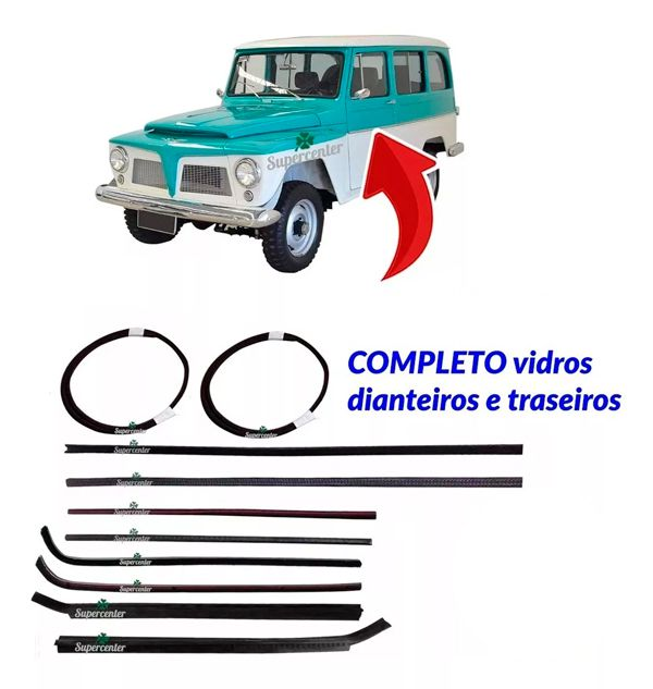 Kit Canaleta Pestana Borracha Vidro Ford Rural Jeep Willys