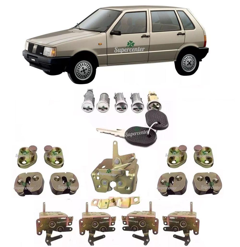 Kit Cilindro Miolo Chave Fechadura Batente Porta e Porta Mala Fiat Uno 1990 A 1995 4 Portas