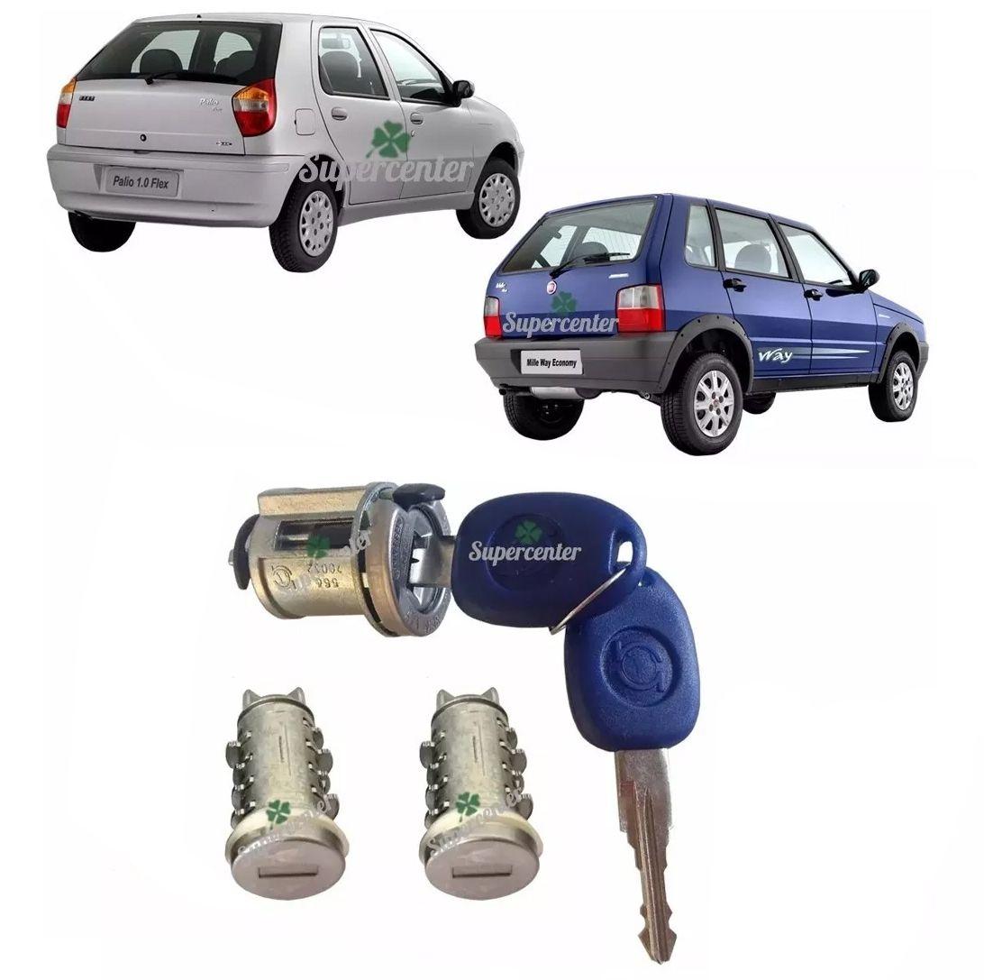 Kit Cilindro Miolo Porta Ignição Porta Mala Com Chave Palio Siena 1996 a 2007 Fiat Uno 2004 a 2013