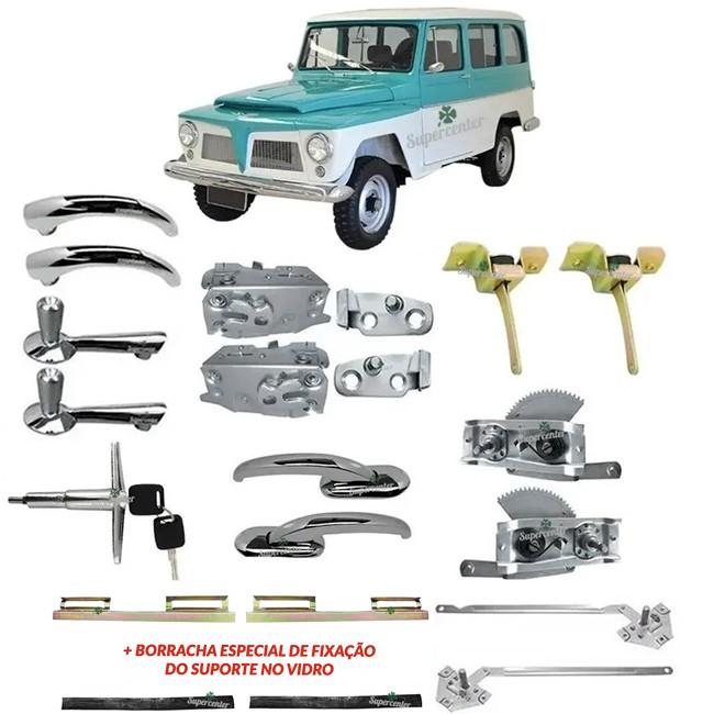 Kit Completo Maçaneta Fechadura Porta Máquina Vidro Rural