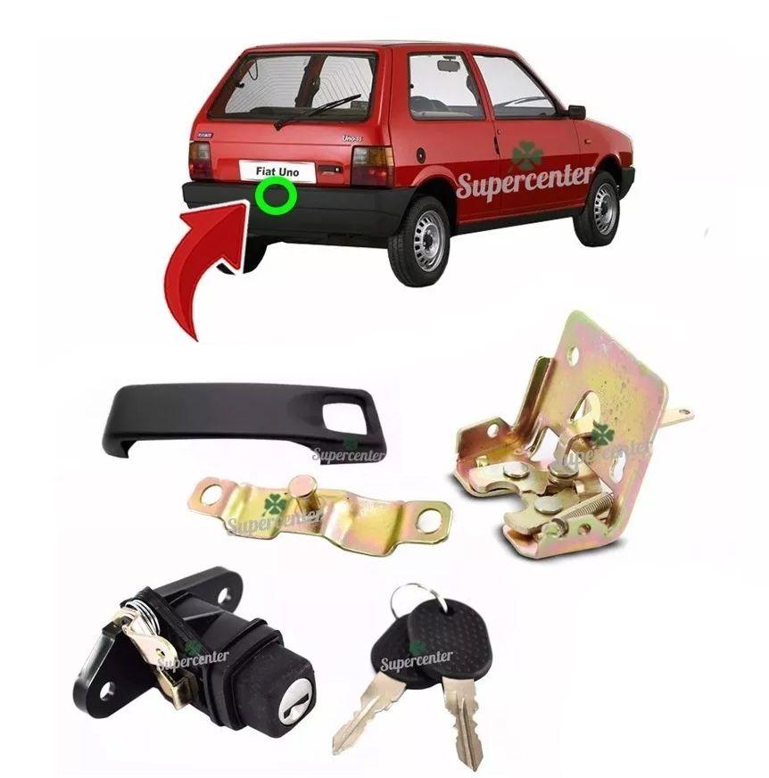 Kit Fechadura Batente Maçaneta Fecho Cilindro Com Chave Porta Mala Fiat Uno 1996 A 2003