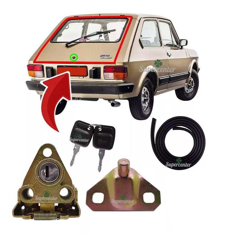 Kit Fechadura Chave Batente Borracha Porta Mala Fiat 147