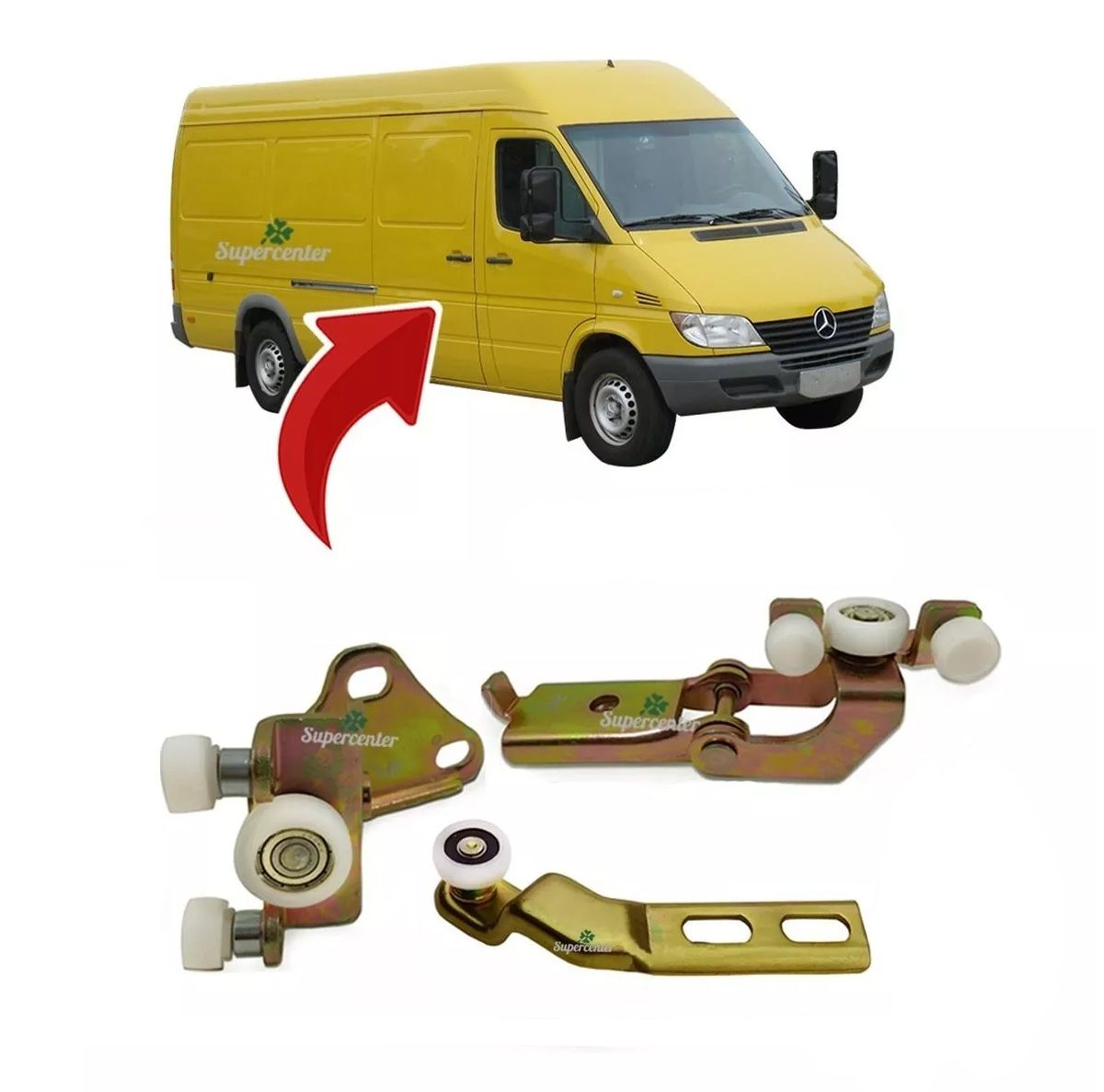 Kit Guia Central Sup Inf Porta Lateral Correr Sprinter 97/11