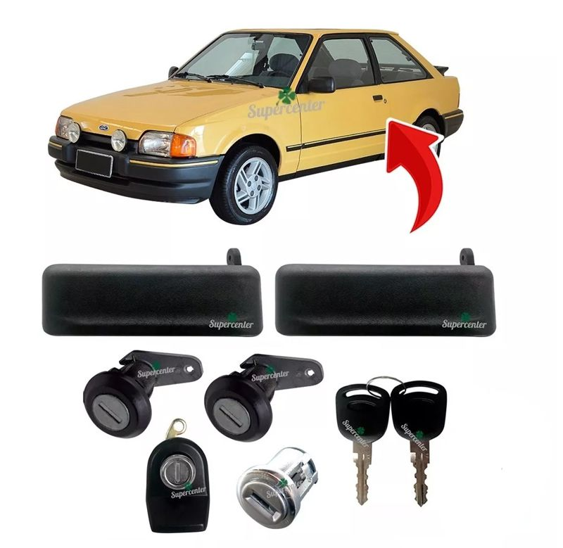 Kit Maçaneta Cilindro Porta Ignição Porta Mala Manual Chave Escort 1983 a 1992 Escort Hobby