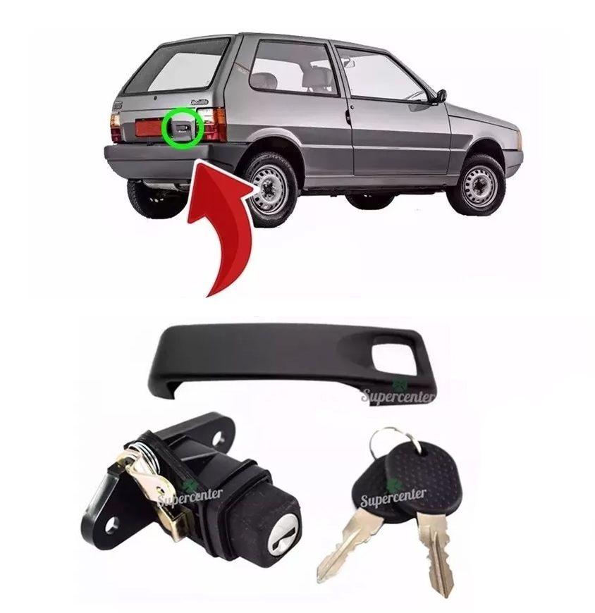 Kit Maçaneta Fecho Botão Miolo Chave Porta Mala Fiat Uno 1985 A 1995