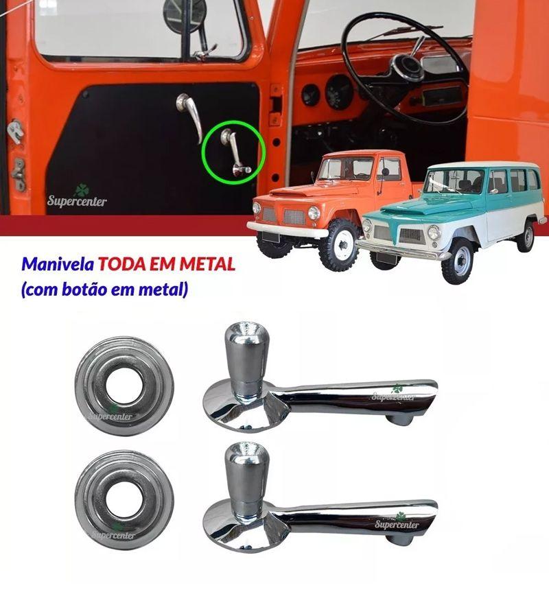 Kit Manivela Vidro Porta + Roseta Ford F75 F-75 Rural Willys