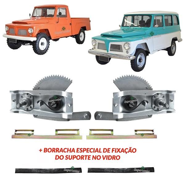 Kit Máquina Suporte Vidro Porta Borracha Ford Rural F75 Willys