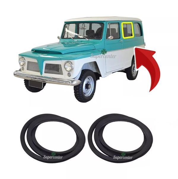Par Borracha Janela Móvel Basculante Rural Willys Jeep