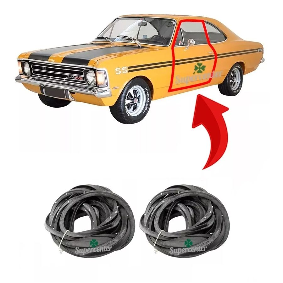 Par Kit Borracha Porta Opala 2 Portas Coupe Ss 1968 A 1992