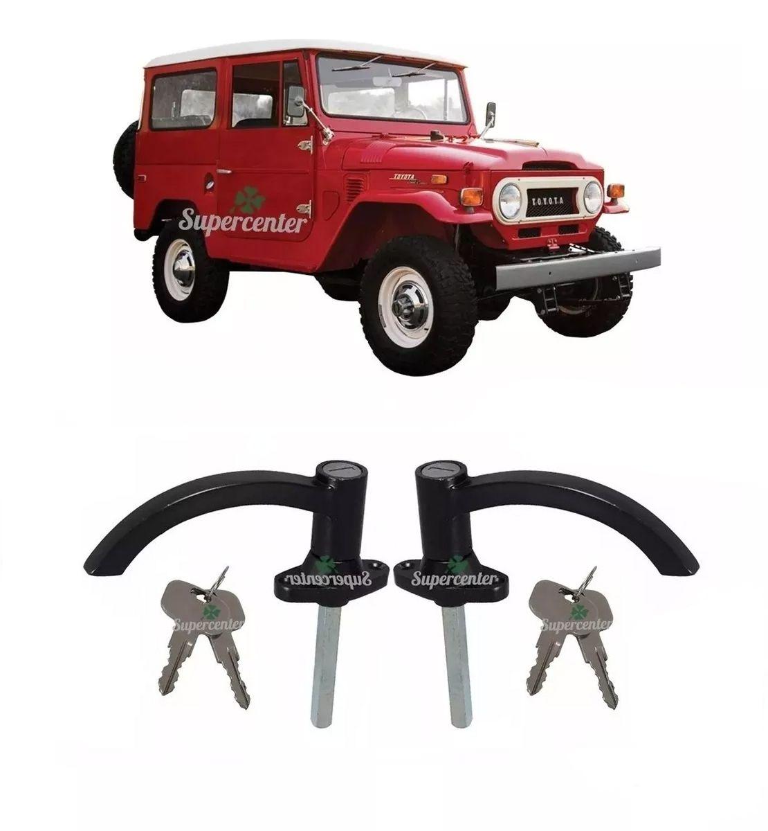 Par Maçaneta Externa Porta Chave Preta Toyota Bandeirante