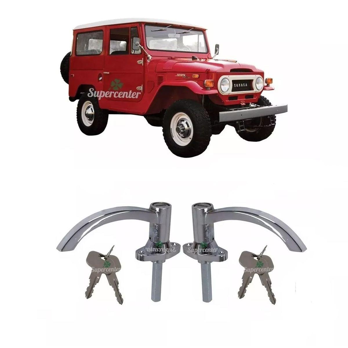 Par Maçaneta Porta Dianteira Chave Cromada Toyota Bandeirante