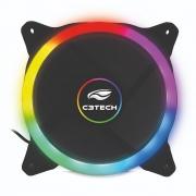 Cooler Fan C3Tech 120mm, LED de 5 Cores, Preto - F7-L120M