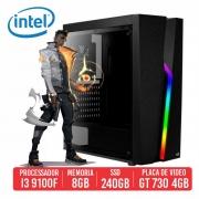 PC Gamer R45 Intel I3 9100F, 8GB SSD 240GB,  GT 730 4GB, 550W