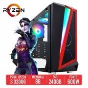 PC Gamer Bizon AMD Ryzen 3 3200G 8GB SSD 240GB 600W 80 PLUS