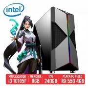 PC Gamer Groza Intel I3 10105F 8GB SSD 240B RX550 4GB 500W 80 PLUS