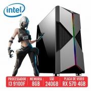PC Gamer M4A1 Intel 9100F, 8GB, SSD 240GB, RX 570 4GB, 500W 80 Plus