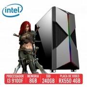 PC Gamer Mosin Intel I3 9100F, 8GB, SSD 240GB, RX 550 4GB, 500W 80 Plus