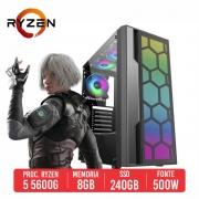 PC Gamer QBU AMD Ryzen 5 5600G, 8GB, SSD 240GB 500W 80 PLUS