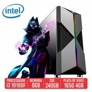 PC Gamer QBU Intel I3 10100F 8GB SSD 240GB GTX 1650 4GB 500W 80 plus