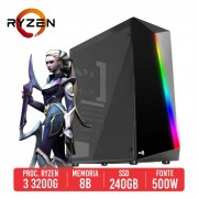 PC Gamer QBZ AMD Ryzen 3 3200G 8GB SSD 240GB 500W 80 PLUS