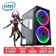 PC Gamer SCAR-L Intel I5 9400F 8GB SSD 240GB RX 570 4GB 500W