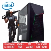 PC Gamer USP Intel I3-10105F 8GB SSD 240GB Gtx 1650 4GB 500W 80 plus