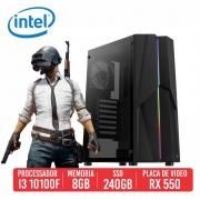 PC Gamer Vandal Intel I3 10100F 8GB SSD 240GB Rx 550 4GB 500W 80 plus