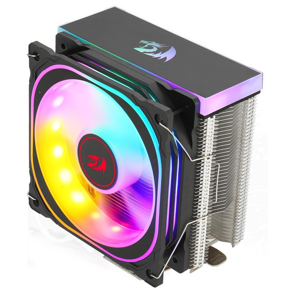 Cooler para Processador Redragon Thor, Iluminação Rainbow, Intel e AMD, 120mm, Preto - CC-9103