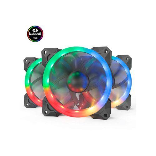 Cooler Redragon Rgb Com Controle Gc-f008 Kit Com 3 Fans 120mmx25mm