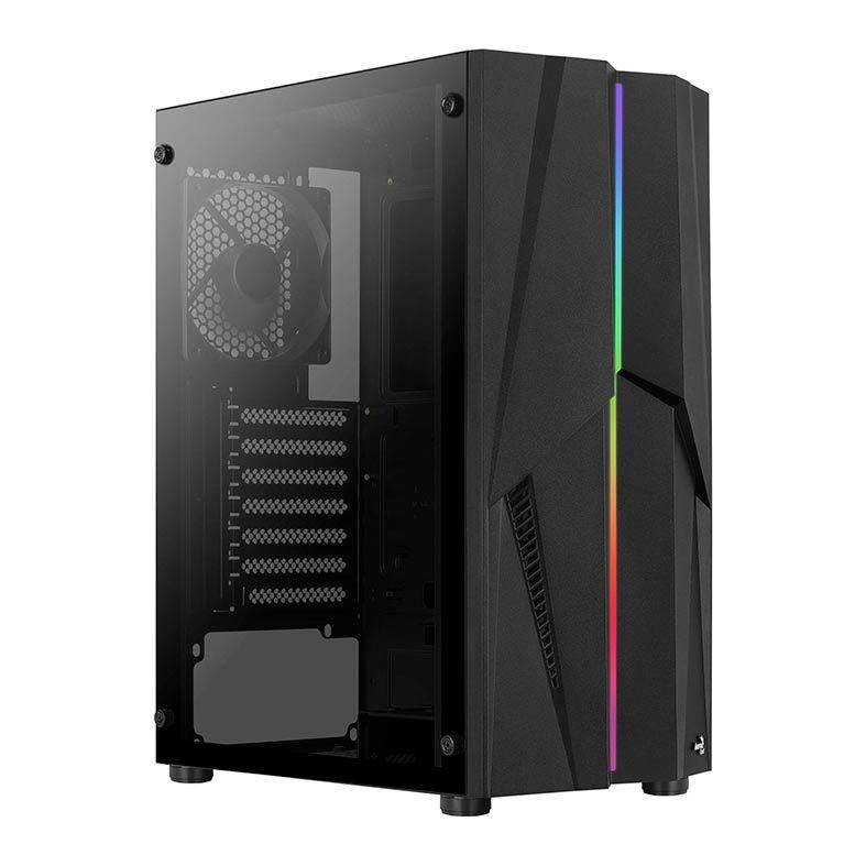 Gabinete Gamer Aerocool Mecha Mid Tower RGB 1x FAN Traseira Lateral em Vidro Temperado Preto - 72998