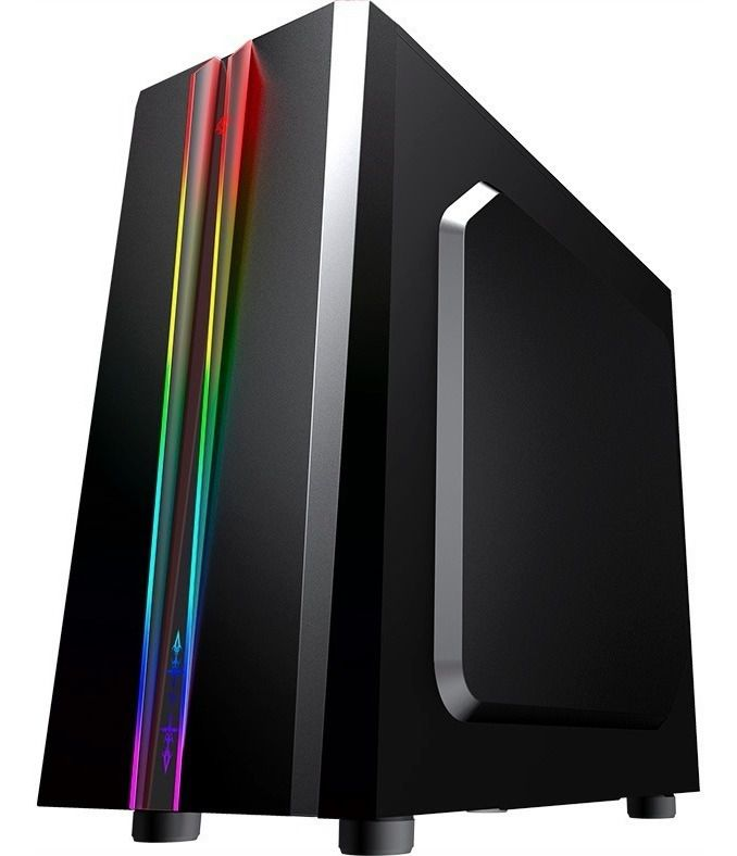 Gabinete Gamer K-mex Odyssey RGB, Mid Tower, Lateral de Acrílico, Black, S-Fonte