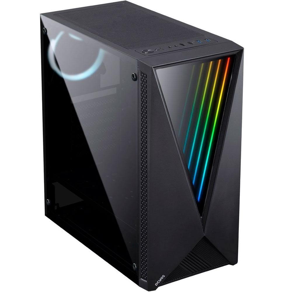 Gabinete Gamer PCYes Vector, Mid Tower, RGB, com FAN, Lateral em Vidro - VCPTRGB3FV