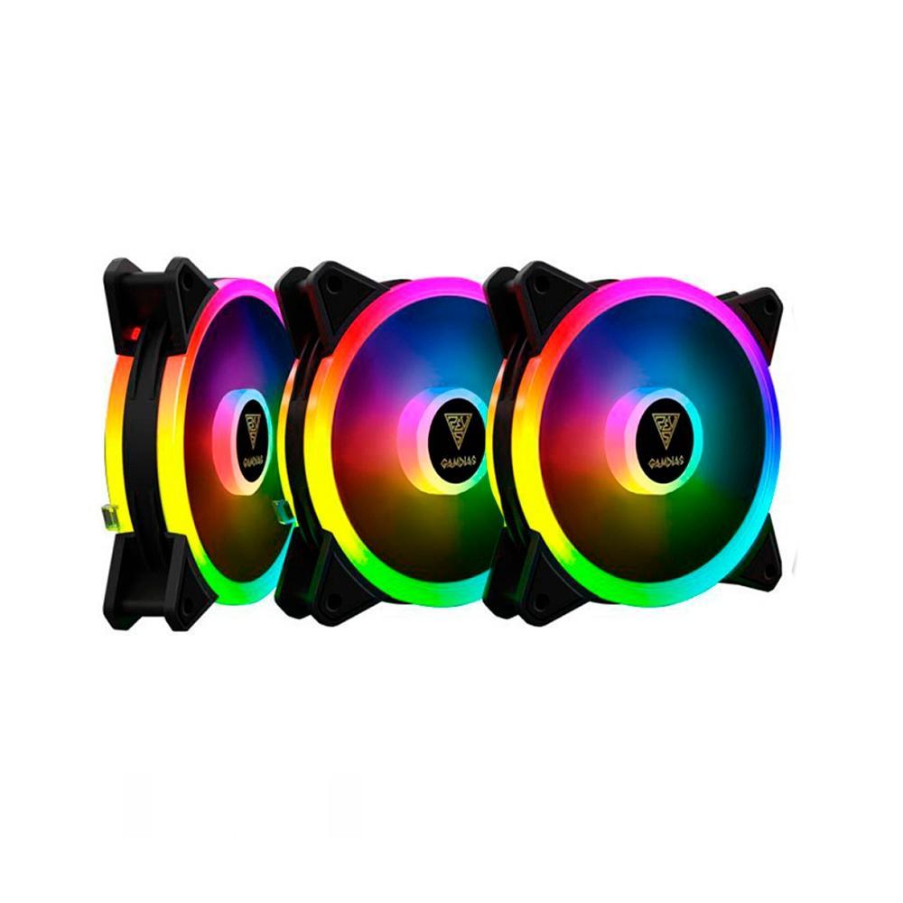 Kit 3 Cooler FAN Gamdias RGB - AEOLUS M2-1203 LITE