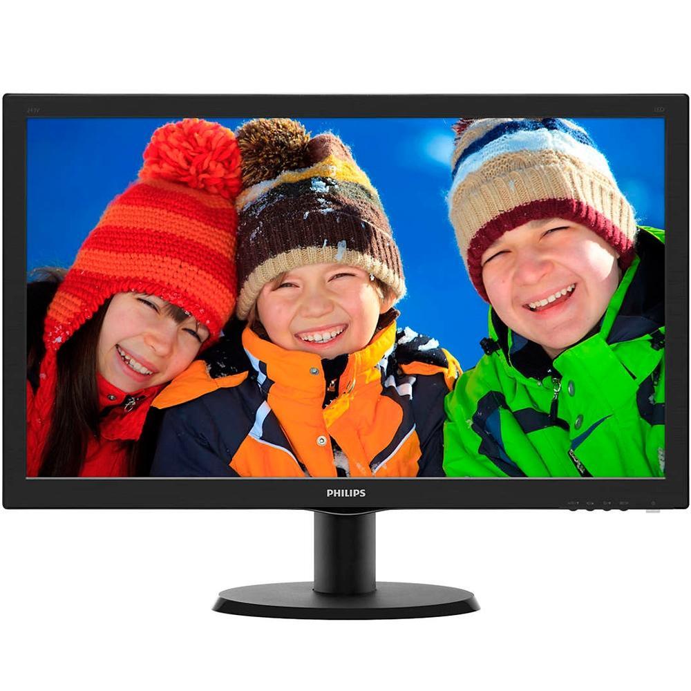 Monitor Philips LED 23.6´ Widescreen, Full HD, HDMI/VGA/DVI, Som Integrado - 243V5QHABA