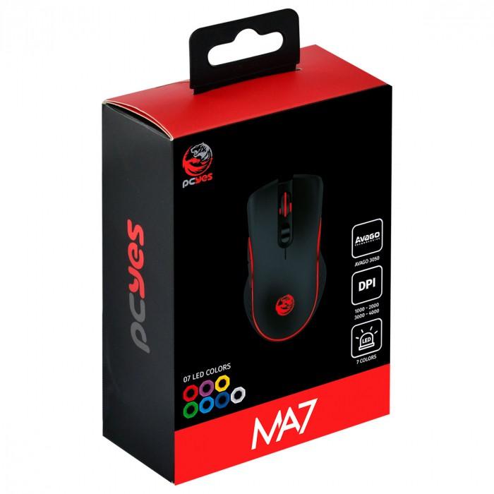 Mouse Gamer PCYES USB MA7 4000 DPI Sensor Avago 3050