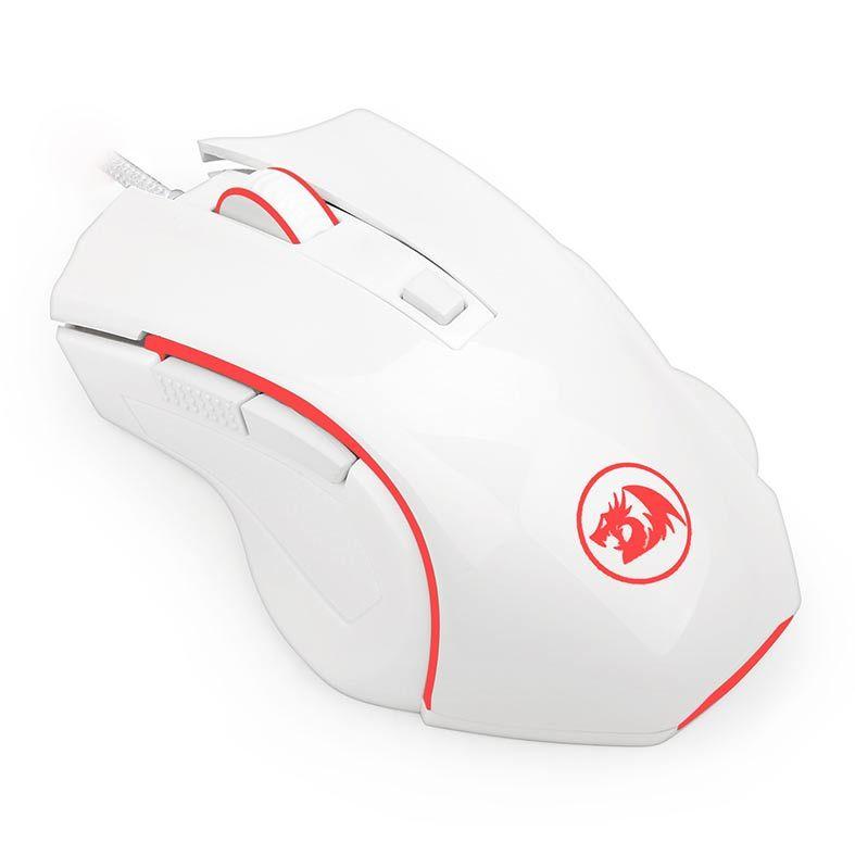 Mouse Gamer Redragon Nothosaur Led Vermelho 3200DPI, 6 Botoes, Lunar White - M606W