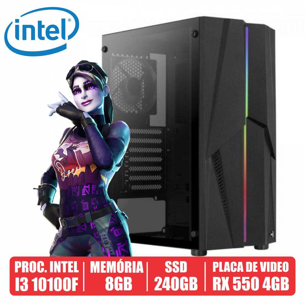 PC Gamer AKM Intel i3 10100F 8GB SSD 240GB RX 550 4GB 500W 80 PLUS