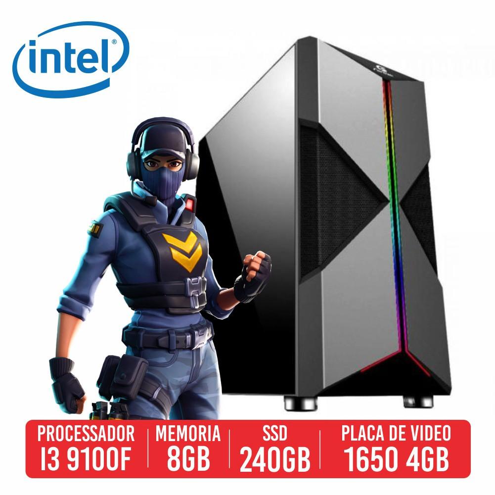 PC Gamer AKM Intel I3 9100F 8GB SSD 240GB GTX 1650 4GB 500W 80 PLUS