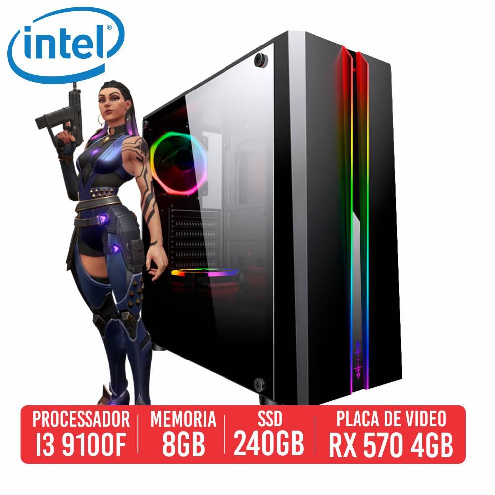 PC Gamer Groza Intel I3 9100F 8GB SSD 240GB RX 570 4GB 500W 80 Plus