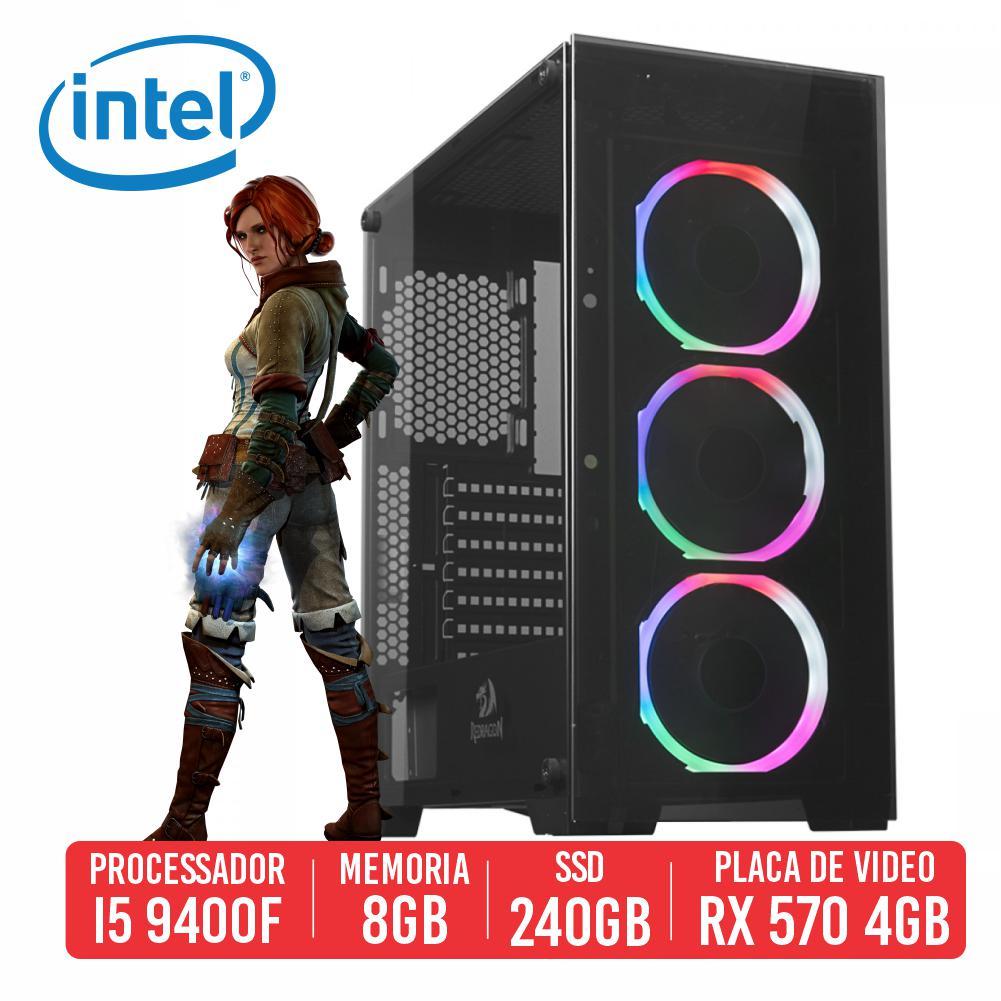 PC Gamer K47 Intel I5 9400F 8GB SSD 240GB RX 570 4GB 500W 80 Plus